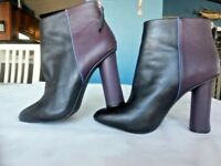 CABI Leather High Heel Ankle Boots Booties Burgundy/Black Women's Sz 8M