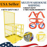 Universal Forklift Safety Cage Telehandlers Lift Work Platform W/ Safety Harness