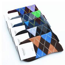 Fashion Men's Hit colors Socks Argyle Dress Socks #U Casual Cotton Socks 5 Pairs