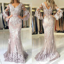 Elegant Lace Applique V Neck Mother Of The Bride Dresses Puffy Sleeve Party Gown