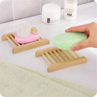 Hot Bathroom Soap Dish Drain Tray Holder Sponge Plate Storage Rack Natural Wood