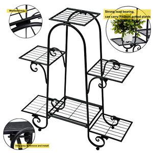 6 Tier Metal Flower Pot Plant Stand Display Shelf Multilayer Rack Indoor Outdoor