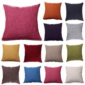 Plain Cushion Cover Sofa Waist Throw Cotton Linen Pillow Case Bed Home Decor UK