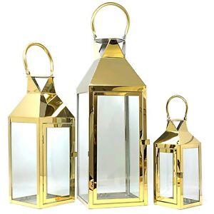 Allgala 3-PC Set Jumbo Luxury Modern Indoor/Outdoor Hurricane Candle Lantern Set