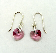 Sterling Silver Drop Earrings w SWAROVSKI ELEMENTS Crystal Heart Light Amethyst