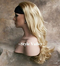 Long Blonde Mix  3/4 Fall Hair Piece Half Wig Straight Layered Wavy ends NWT