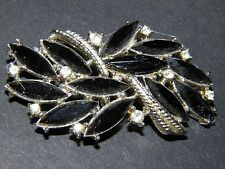 vintage black and clear open back rhinestone brooch