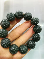 Chinese Hand Carved  Bead Natural jade Bead  Hetian jade Bracelet 1pc