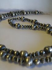 36 inch Sterling Silver Bead Necklace by Dan Dodson of Santa Fe. 95 GRAMS.