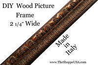 "DIY CUSTOM CUT 2 1/4"" WIDE Italian Ornate Copper Wood Picture Frame Moulding"