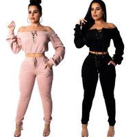 2 Piece Set Women Tracksuit Suit Outfit Crop Hoodie Two Piece Set Sweatpants Set