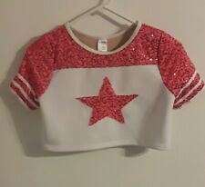 Weissman Girls Size LC White With Pink Sequince Start Dance Top
