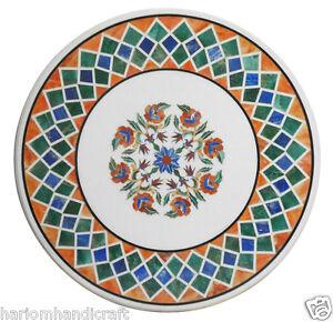 "30"" Marble Coffee Table Top Semi Precious Multi Gem Marquetry Inlaid Decor H2386"