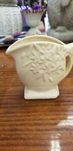 Vintage Nelson McCoy cream colored pitcher/vase floral pattern miniature