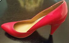 NEW BEAUTIFUL RED 100% LEATHER  PUMPS SHOES HEELS SIZE 9
