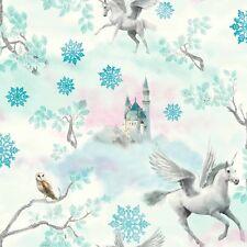 Arthouse Fairytale Ice Blue Teal Wallpaper Unicorn Glitter Castle Snow 667800