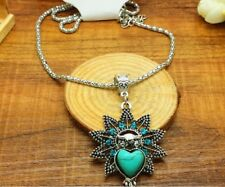 Tibet silver natural turquoise owl necklace women clothing accessories
