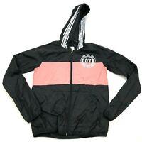 NEW Love Windbreaker Jacket Women's Size Small Black Pink Full Zip Hoodie Reflex