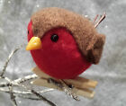 Chubby Felt Christmas Robin Tree Peg Decoration Gisela Graham Vintage Bird