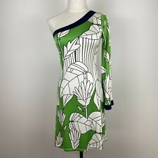 Prairie New York Women's Stretch One Shoulder Green Silk Dress Size XS ~A11