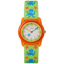 Kids Timex Time Teacher Green Elastic Fabric Band Watch TW7C13400