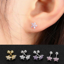 Women Silver Gold Pink Tiny Cz Flower Stud Earrings Stainless Steel 6mm Hot Gift