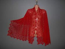 Stunning 100% alpaca lace shawl / scarf.  col. RED