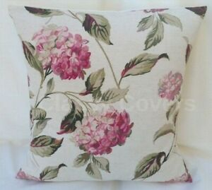 "Laura Ashley Designer Cushion Cover ""HYDRANGEA"" Pink/Natural Various Sizes"