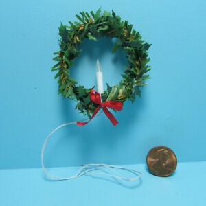 Dollhouse Miniature Winter Christmas Wreath with 12v Electric Candle SC700