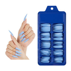 100 Pcs Long Stiletto Nail Tips Full Cover False Fake Acrylic Nail Art Manic Y1