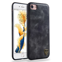 For iPhone 6s 7 Plus Silicone Case Leather Vintage Shockproof Hybrid Phone Cover