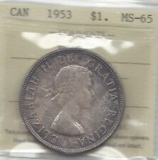 **1953 NSF**, ICCS Graded Canadian Silver Dollar **MS-65**