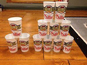 (12) 1993 NLCS PLASTIC CUPS ATLANTA BRAVES VS PHILADELPHIA PHILLIES