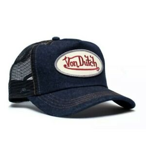 Authentic Brand New Von Dutch Blue Denim Cap Hat Mesh Snapback Trucker One Size
