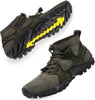 SOBASO Mens Hiking Shoes Trail Running Shoes Stylish Slip, Green, Size 12.0 XjOu