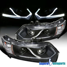 For 2006-2011 Honda Civic 2Dr Coupe LED Strip Projector Headlights Black