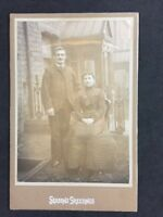 Victorian Cabinet Card: Smiling Couple Outside: Seasons Greetings