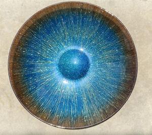 "Large Glitter Back Glass Fruit Console Bowl Blue/Gold 15.5"" Diameter MCM Decor"