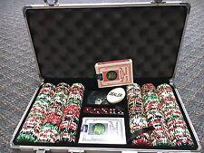 300 Poker Chips Dice Cards w/ Aluminum Dealer Button Case Storage Box,keys