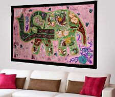 HANDMADE ELEPHANT BOHEMIAN PATCHWORK WALL HANGING EMBROIDERED TAPESTRY INDIA X58