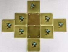Set 10 Antique Majolica Panel Backspl Art Nouveau 6� tiles olive green flower