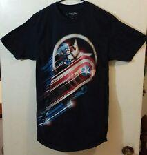 Captain America Graphic Men's Short Sleeve T-Shirt Size Medium M Navy
