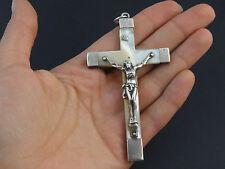Ancienne grande croix de communion argent massif et nacre XIXeme