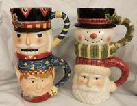 Vintage Tis the Season Susan Winget Set of 4 Holiday Coffee  Mugs 14oz