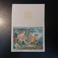 TABLEAU F. BOUCHER N°1652 TIMBRE NON DENTELÉ IMPERF 1970 NEUF ** LUXE MNH