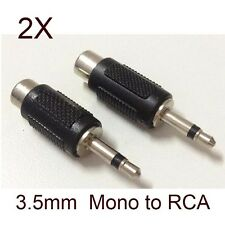 2X 3.5mm Male Mono to RCA Female Plug Headphone Jack Audio Converter A/V Adapter