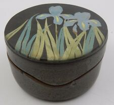 """POTTERY 5-1/4"""" BOX FLOWERS SIGNED EMILY ROSSHEIM HINSBURG,VT"""