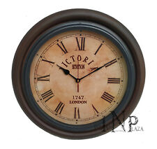Antique Vintage Brass & Wooden 12 inch Wall Clock Victoria Station London 1747