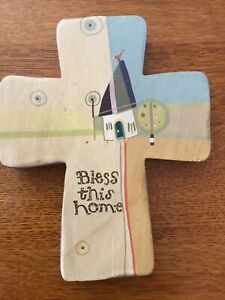 """Natural Life Wood Cross By Robbin Rawlings! """"BLESS THIS HOME"""" New!"""
