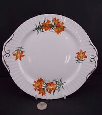WHITE ORANGE PRAIRIE LILY GOLD TRIM 9 1/2'' SERVING PLATE ROYAL WINDSOR